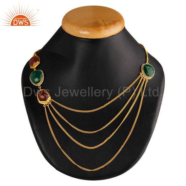 22K Yellow Gold Plated Brass Green And Red Aventurine Three Chain Necklace