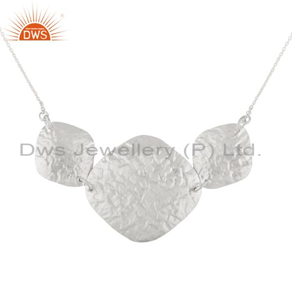 Handmade 925 Solid Sterling Silver Petals Chain Necklace