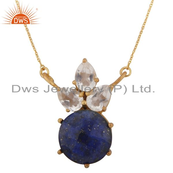18K Gold Plated Sterling Silver Lapis Lazuli & Crystal Cluster Pendant Necklace