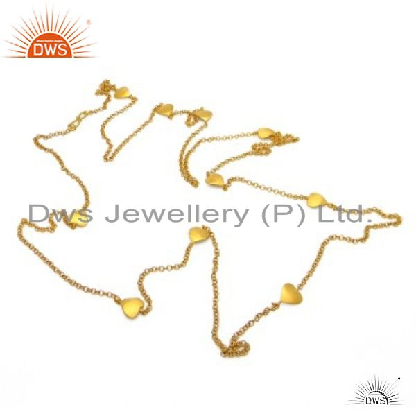 18K Yellow Gold Plated Sterling Silver Link Chain Necklace Jewelry