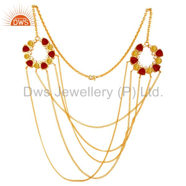 22K Yellow Gold Plated Brass Moonstone And Red Coral Chain Necklace