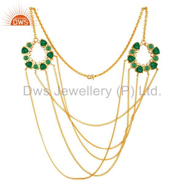 22K Yellow Gold Plated Brass Green Aventurine And CZ Multi Chain Necklace