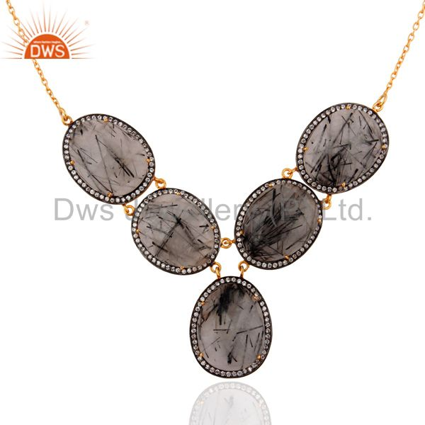 22K Yellow Gold Plated Sterling Silver Tourmalated Quartz & CZ Fashion Necklace