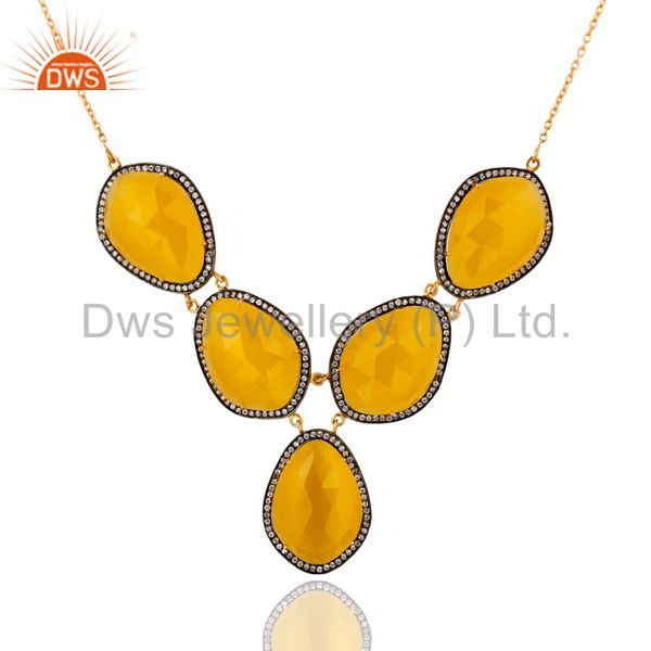 24K Yellow Gold Plated Sterling Silver CZ & Yellow Moonstone Prong Set Necklace