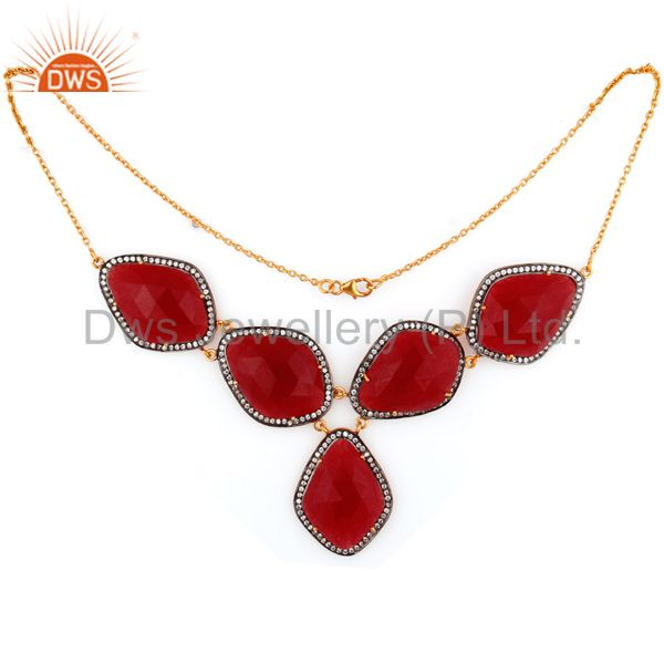 24K Yellow Gold Plated Sterling Silver Red Aventurine And CZ Fashion Necklace