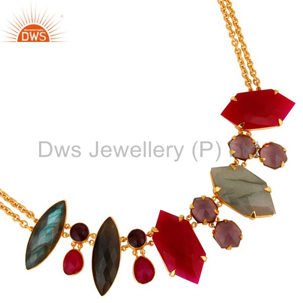 22K Yellow Gold Plated Labradorite & Chalcedony Designer Necklace