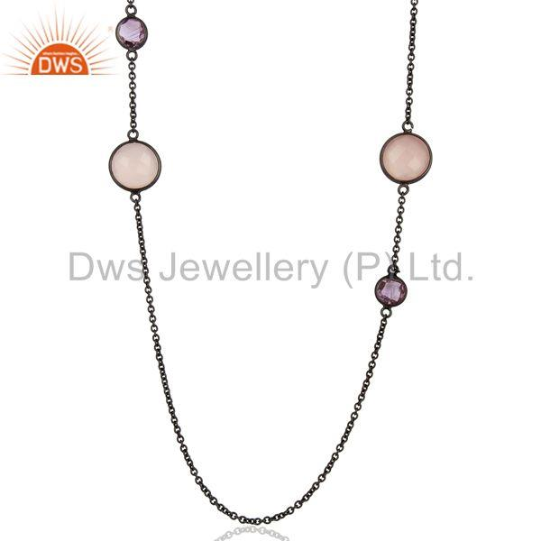 Rhodium Plated 925 Silver Gemstone Chain Necklace Jewelry Supplier