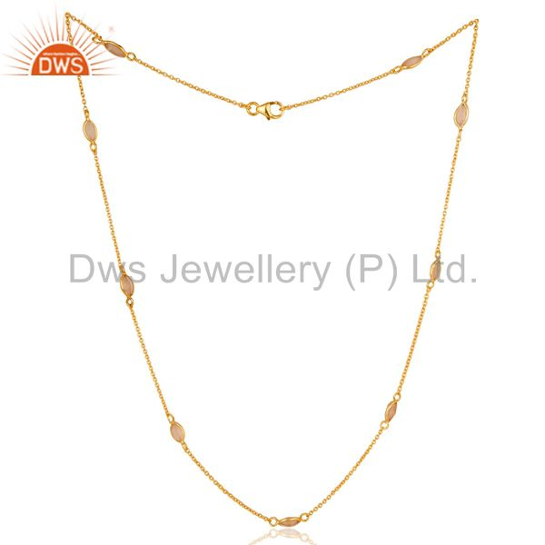 18K Gold Plated Sterling Silver Dyed Chalcedony Gemstone Bezel Set Chain Necklac