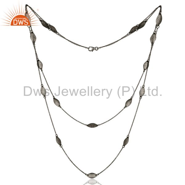 Black Oxidized 925 Sterling Silver Handmade Art Deco Chain Necklace Jewellery
