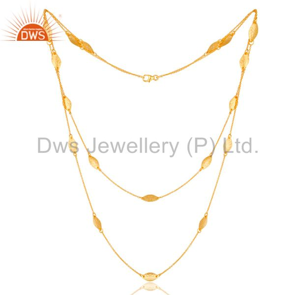 22K Gold Plated 925 Sterling Silver Handmade Art Deco Chain Necklace Jewellery