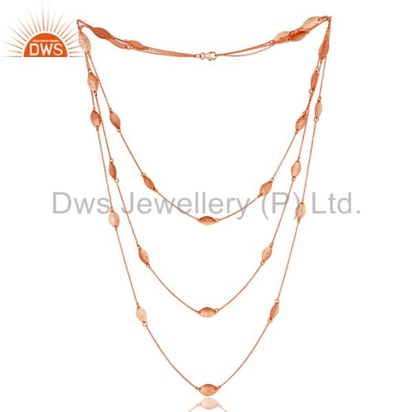 """18K Rose Plated Sterling Silver Handmade Art Deco Chain Necklace Jewellery 24"""""""
