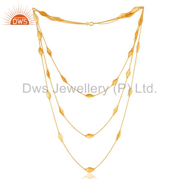 18K Gold Plated Sterling Silver Handmade Art Deco Chain Necklace Jewellery 24