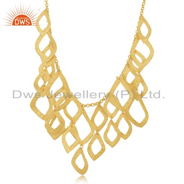 22K Yellow Gold Plated Sterling Silver Cutout Petals Bib Necklace