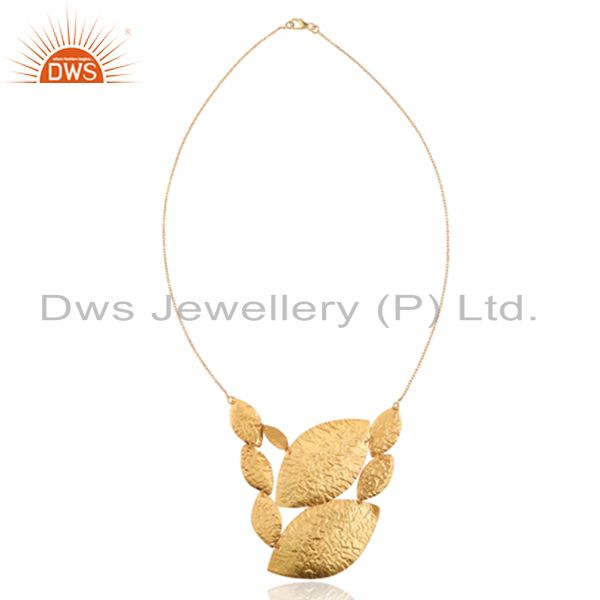 18K Yellow Gold Plated Sterling Silver Hammered Leaves Chain Necklace