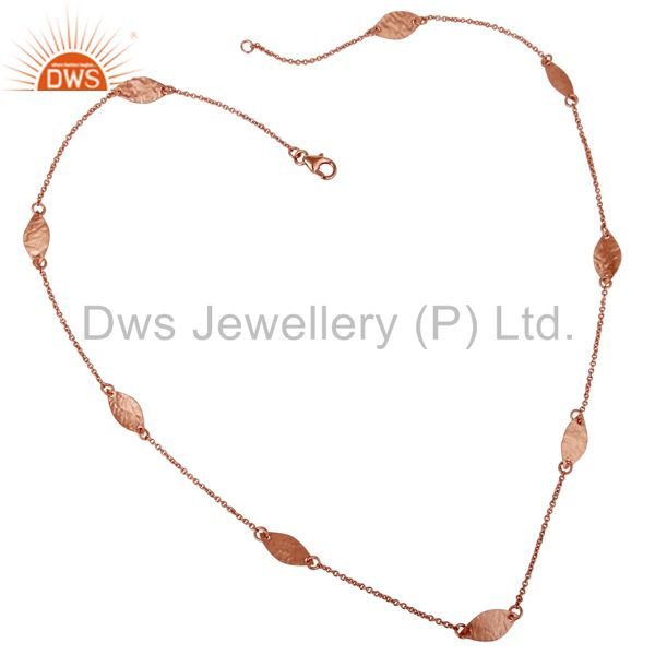 18K Rose Gold Plated Sterling Silver Hammered Petals Chain Necklace