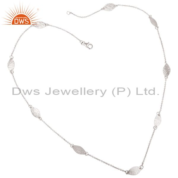 925 Sterling Silver Hammered Petals Chain Necklace