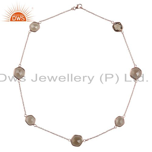 18K Rose Gold Plated Sterling Silver Smoky Quartz Bezel Set Link Chain Necklace