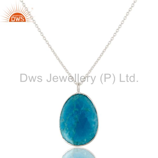 Sterling Silver Overlay Turquoise with Blue Corundum Connector Chain Necklace