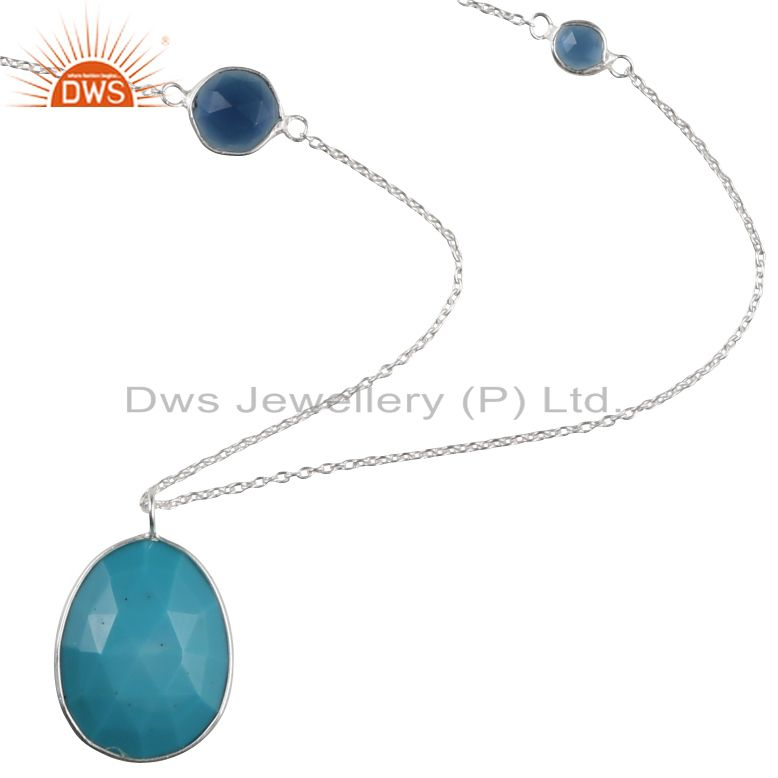 Handmade Sterling Silver Turquoise And Blue Corundum Gemstone Chain Necklace