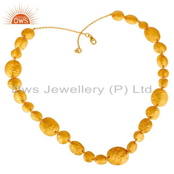 24K Yellow Gold Plated Sterling Silver Hammered Petals Design Statement Necklace