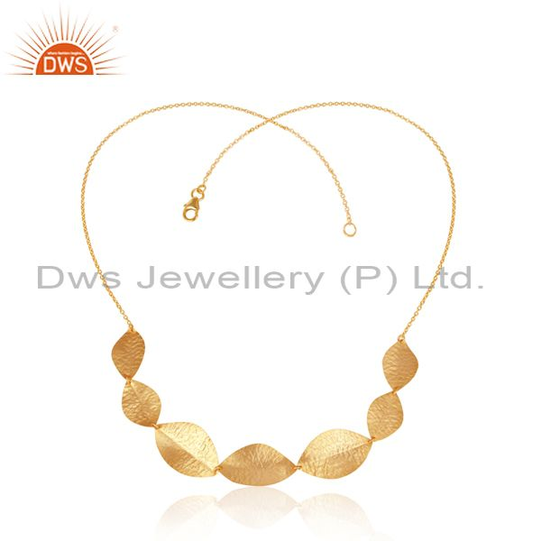 22K Yellow Gold Plated Sterling Silver Hammered Dry Leaf Necklace