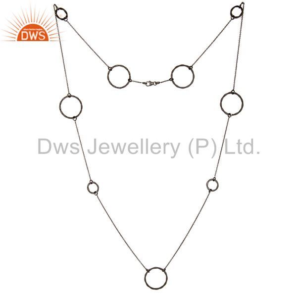 Oxidized Sterling Silver Handmade Round Hammered Circle Link Necklace