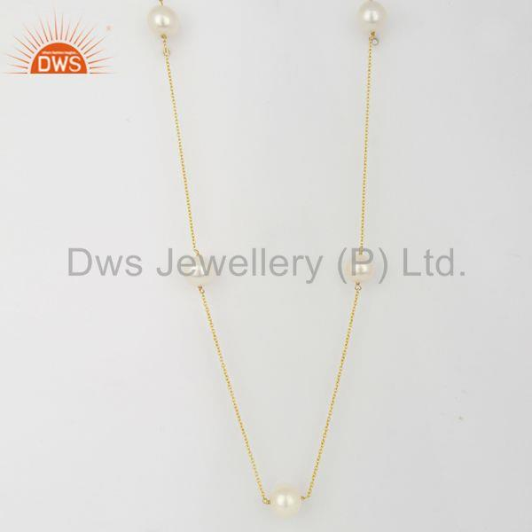Yellow Gold Plated 925 Sterling Silver Natural Pearl Gemstone Necklace