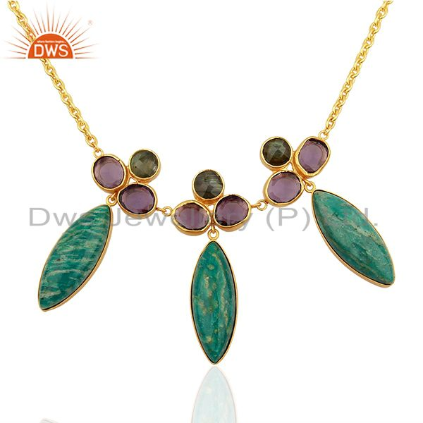 Wholesale Amazonite Gemstone Gold Plated Womens Chain Necklace