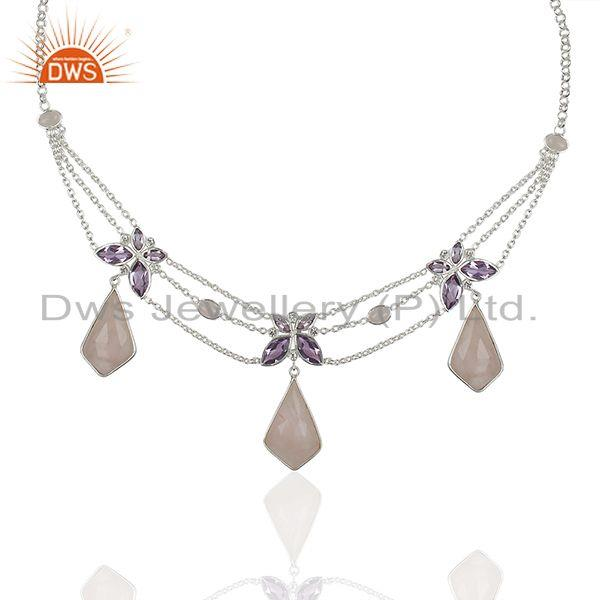 Amethyst and Rose Quartz Gemstone 925 Silver Necklace Manufacturers