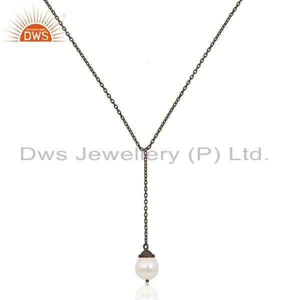 Black Rhodium Plated 925 Silver Handmade 24inch Chain Necklace Pendant Wholesale