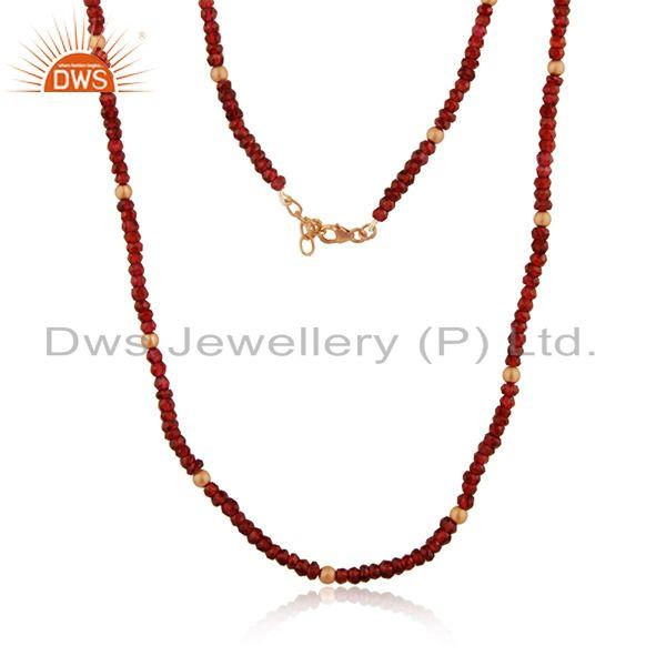 Beaded Garnet Gemstone Yellow Gold Plated 925 Silver Necklace Manufacturer India