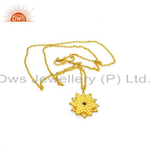 14K Yellow Gold Plated Sterling Silver Smoky Quartz Star Pendant With Chain