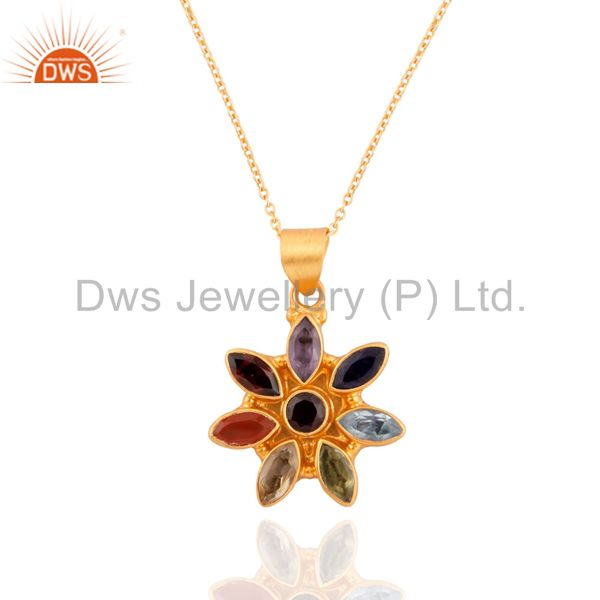 18K Gold Over Sterling SIlver Crystal Healing Chakra Gemstone Pendant Jewelry