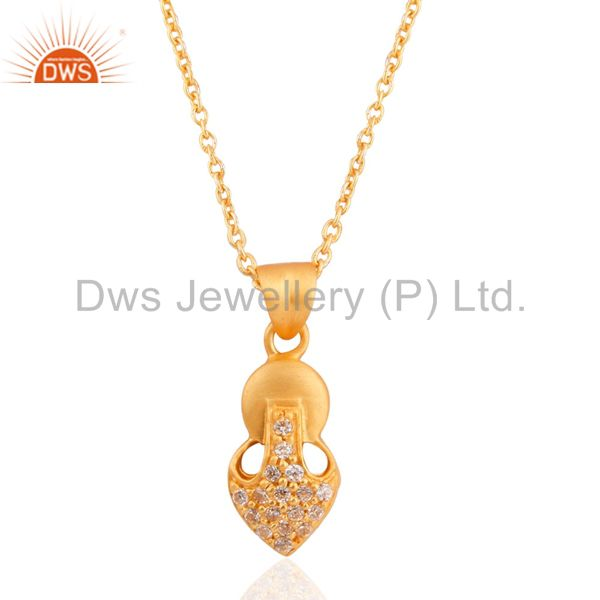 """24k Gold Plated White Zircon Sterling Silver Pendant with 16"""" Chain Necklace"""