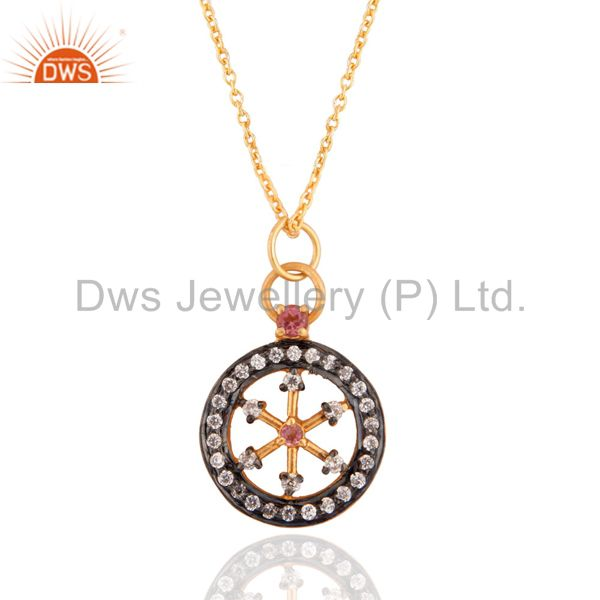 18K Gold GP Sterling Silver Cut Out Wheel of the Year Pendant Whith Chain