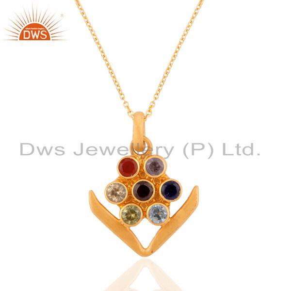 925 Solid Sterling Silver Seven Chakra Gemstone Pendant With 24k Gold Plated Je
