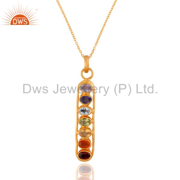 """Natural Seven Chakra Gemstone Sterling SIlver Pendant With 18k Gold Plated 16"""""""