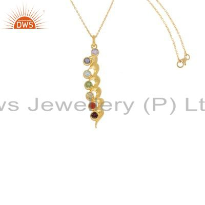 18K Yellow Gold Plated Sterling Silver 7 Chakra Gemstone Pendant With Chain