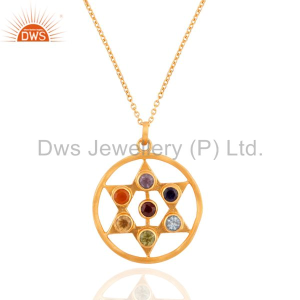 """925 Sterling Silver Seven Chakra Gemstone Gold Plated Pendant 17"""" Chain Necklac"""