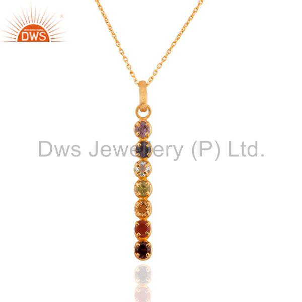 """18K Gold Plated Sterling Silver Seven Chakra Gemstone Pendant With 17"""" IN Chain"""