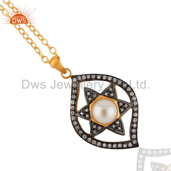 Real Natural White Pearl Star Design Pendant White Zircon 18k Gold GP Chain Neck