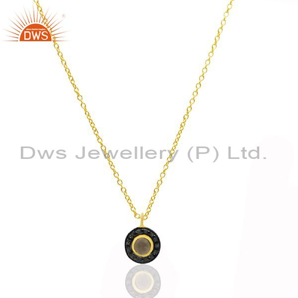 18K Yellow Gold Plated Sterling Silver Smoky Quartz And CZ Pendant Necklace
