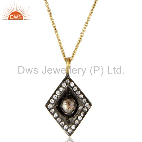 14K Yellow Gold Plated 925 Sterling Silver Crystal CZ Polki Chain Pendant