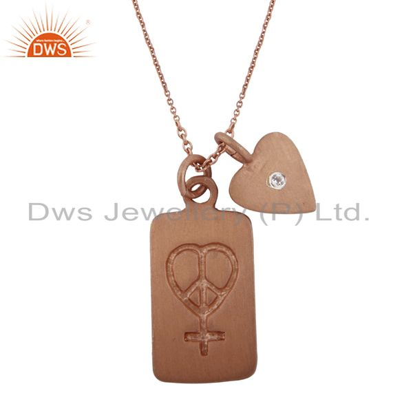 18K Rose Gold Plated Sterling Silver White Topaz Heart Charm Pendant With Chain