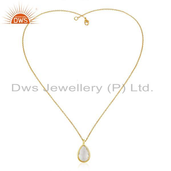 Crystal Quartz Gemstone 925 Sterling Silver Gold Plated Chain Pendant