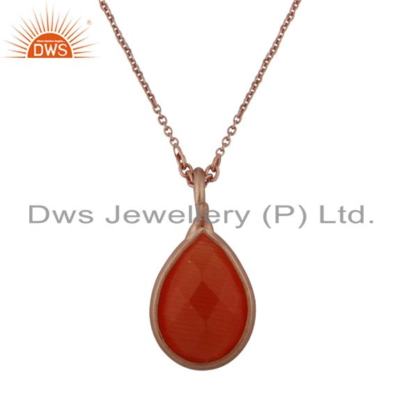 18K Rose Gold Plated Sterling Silver Peach Moonstone Drop Pendant With Chain