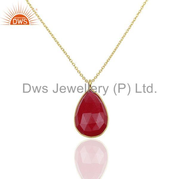 Red Aventurine Gemstone 925 Silver Gold Plated Chain Pendant Wholesale
