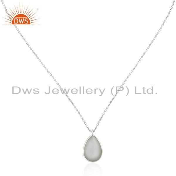 Grey Moonstone Bezel Set Gemstone 925 Fine Silver Chain Pendant Manufacturer