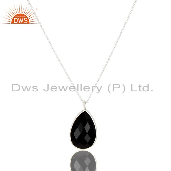 Handmade Solid 925 Sterling Silver Faceted Black Onyx Chain Pendant Necklace