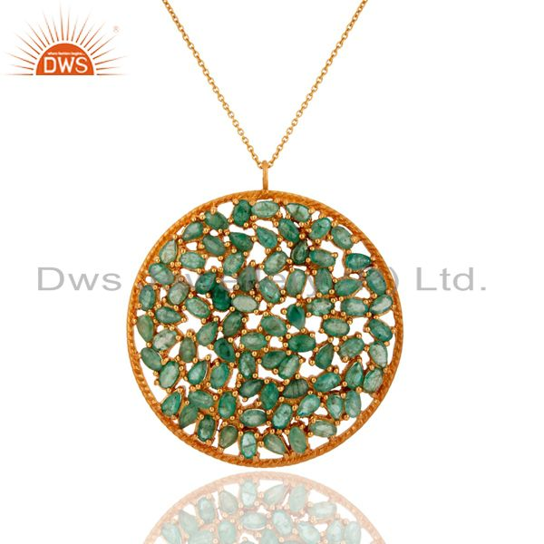 18K Yellow Gold Over Sterling Silver Emerald Gemstone Cluster Pendant With Chain